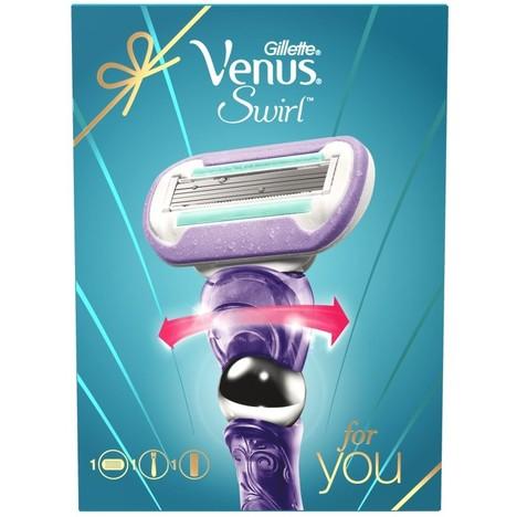 Gillette Venus Swirl Flexiball holicí strojek + gel na holení Sensitive Skin 75 ml