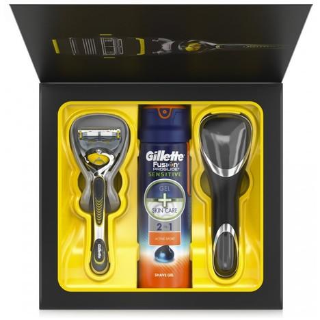 Gillette Fusion ProShield holicí strojek + gel na holení Gillette Fusion 170 ml