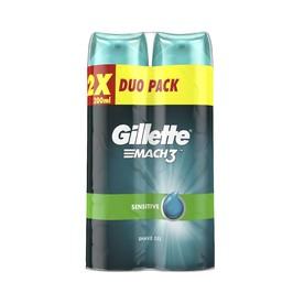 Gillette Mach 3 Sensitive gel na holení 2×200 ml