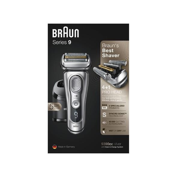 Braun Series 9 9390cc Wet&Dry holicí strojek, STŘÍBRNÝ