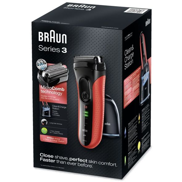 Braun Series 3-3050cc Clean&Charge holicí strojek ČERVENÝ -  POŠKOZENÝ OBAL