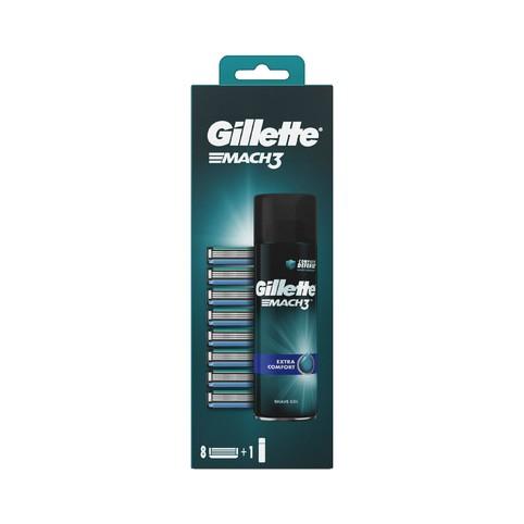 Gillette Mach3 náhradní hlavice 8 ks + gel na holení