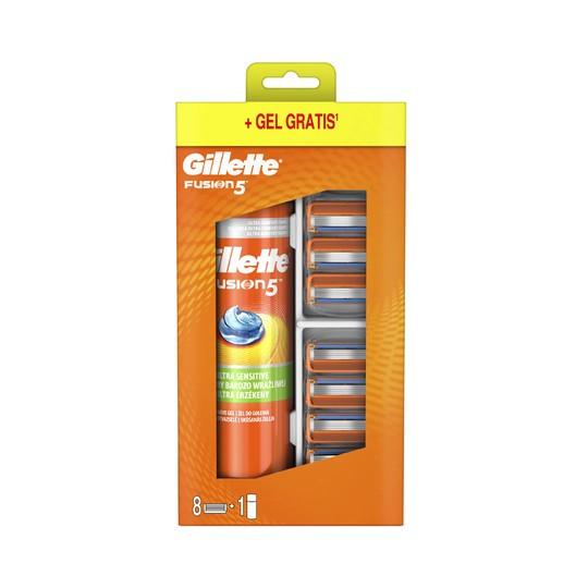Gillette Fusion Manual náhradní hlavice 8 ks + gel na holení 200 ml
